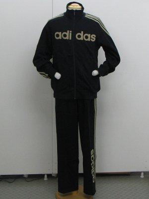画像1: adidas  リニアロゴスウェット上下セット ブラック