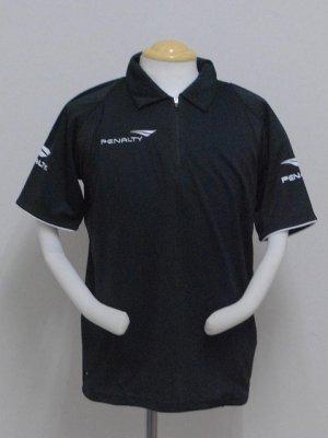 画像1: PENALTY  ジップポロシャツ ブラック