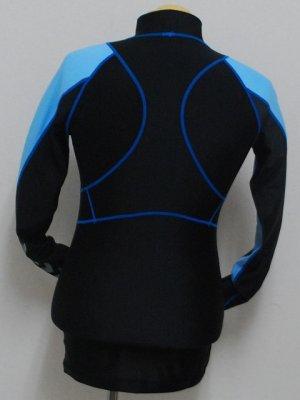 画像2: hummel コンプレッション長袖インナー ブラック×ブルー
