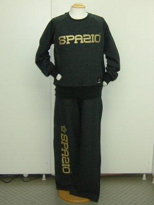 画像1: SPAZIO ロゴクルースウェット上下セット ブラック